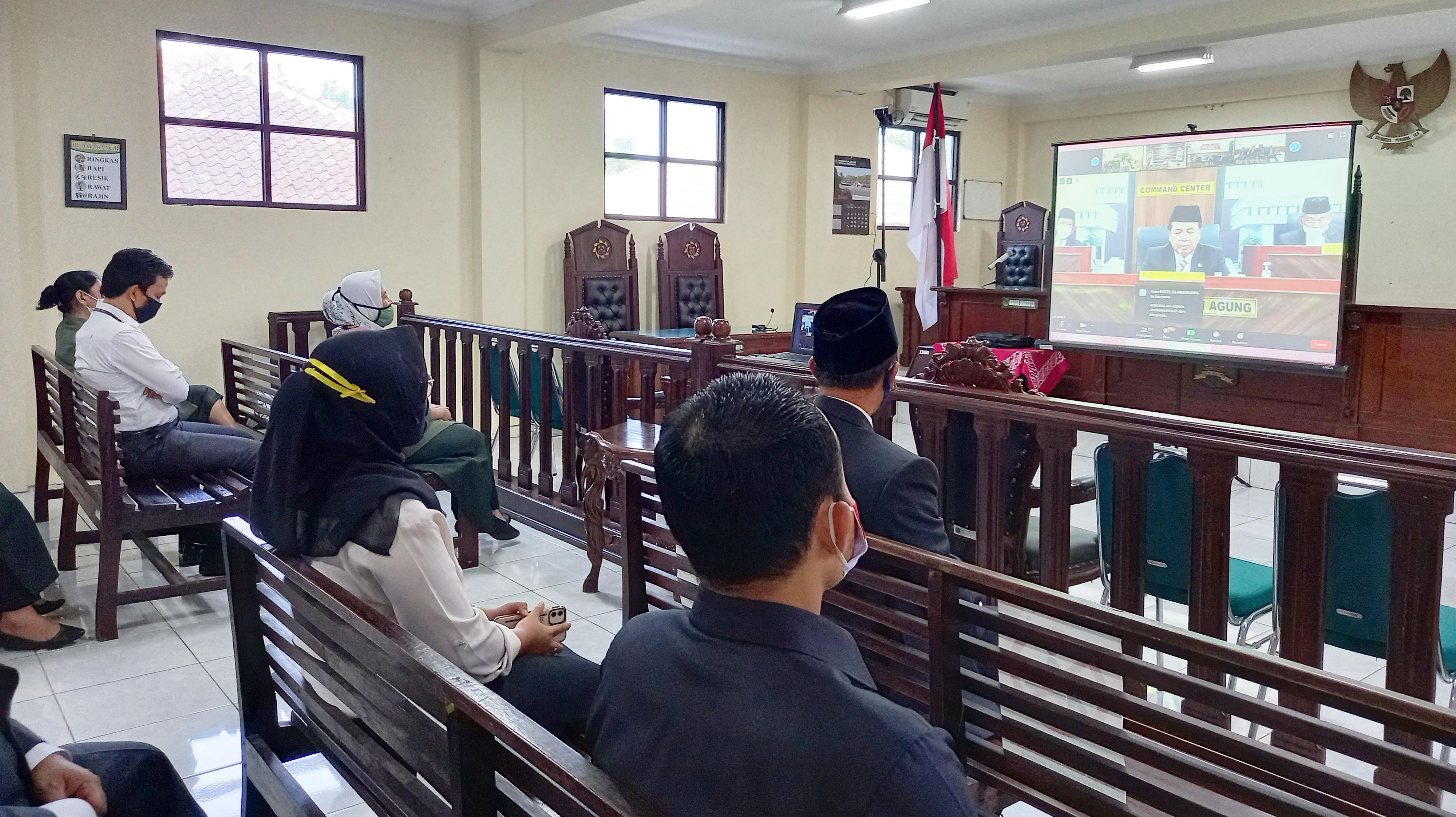 Pengadilan Negeri Ungaran mengikuti Launching Fitur Upaya Hukum Banding pada Aplikasi E- Court Mahkamah Agung RI dan Direktori Putusan V.3 secara Virtual