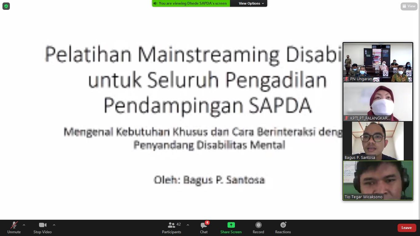 Pelatihan Pengenalan Ragam, Hambatan dan Kebutuhan serta Cara Berinteraksi Penyandang Disabilitas Mental